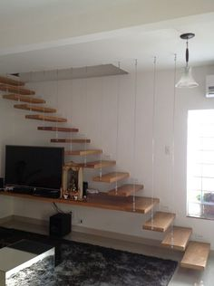 Home Stairs Design, Interior Stairs, House Design, Flooring For Stairs, Stair Walls, House Staircase, Loft Stairs, Stairs In Living Room, Living Room Shelves