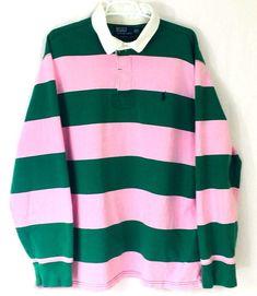 Vintage Polo Ralph Lauren Pink Kelly Green Rugby Shirt Mens XXL Custom Fit 80s     eBay