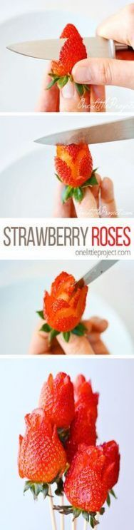 These strawberry roses are SO PRETTY and they're so easy to make! All you need is a small knife and some strawberries! Wouldn't they be great for Valentine's Day or Mother's Day! by Caroline C. Diy Mother's Day Brunch, Brunch Decor, Mothers Day Brunch, Fruit Recipes, Brunch Recipes, Fruit Snacks, Party Food Easy Cheap, Fruit Cake Watermelon, Cake Decorated With Fruit