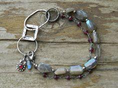 labradorite and garnet bracelet  handmade rustic silver by JewlLi