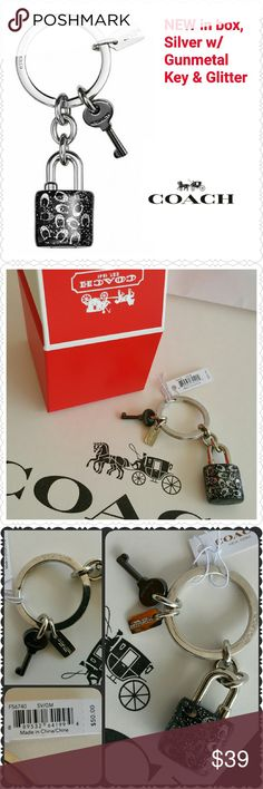 """New Coach Glitter Lock & Key Ring, Silver/Gunmetal NEW Coach Silver-toned Key Ring  * Glitter resin lock & gunmetal key * 1 1/4"""" attached split key ring  * 3 1/4"""" total length  * Style F56740 * Retail  $50 * Includes gorgeous Coach box in photo! * Non-smoking home of Aurora33180 Coach Accessories Key & Card Holders"""
