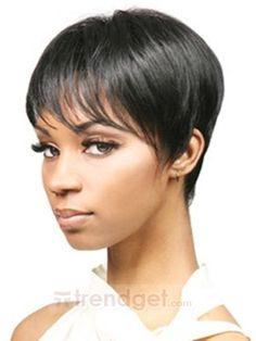 Short Straight Black Capless Wigs For Black Women 100% Indian Remy Hair - $138.99 - Trendget.com
