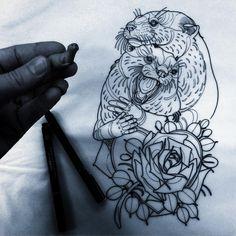 Couple Otters Tattoo Design
