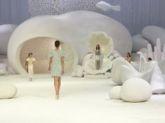Event Decor:  The stage design for Chanel.  A wonderland of curvy, crisp architecture.