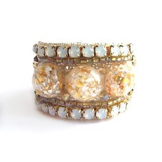 white and gold beaded bracelet with vintage by BlackMarketJewels