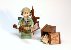 Sand Green ARMY Soldier Military Figure made with LEGO Parts, Brickarms Pieces and Custom Accessories, by BrickEclipse