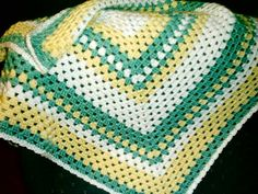 Yellow, Cream N Green Granny Square Afghan