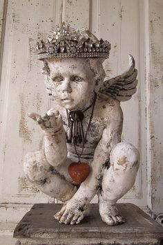 Cherub statue distressed painted white French by AnitaSperoDesign