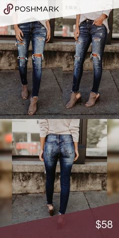 Spotted while shopping on Poshmark: BEST SELLER❣️ Distressed Frayed Ankle Denim Jeans! #poshmark #fashion #shopping #style #Glamvault #Denim