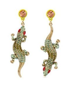 Betsey Johnson  Gold-Tone Crystal Alligator Mismatch Drop Earrings