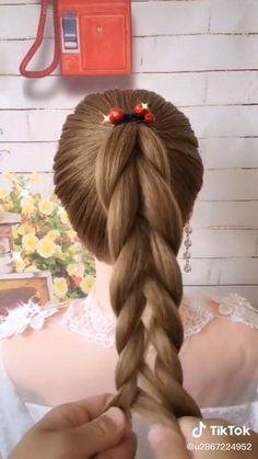 Easy Hairstyles For Thick Hair, Hair Tutorials For Medium Hair, Hairdo For Long Hair, Flower Girl Hairstyles, Braided Hairstyles Updo, Diy Hairstyles, Girl Hair Dos, Bridal Hair Inspiration, Twist Ponytail