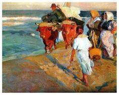 Valencia Beach, Morning sun - Joaquin Sorolla y Bastida - The Athenaeum Spanish Painters, Spanish Artists, Art Painting Gallery, Artist Gallery, Morning Sun, Jamel, Picasso Art, Art Database, Claude Monet
