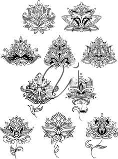 Indian flowers in ethno style with intricate curved petals adorned paisley ornamental elements for lace embellishment or romantic decoration design