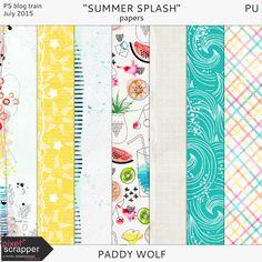 Free Summer Splash Paper Pack | Paddy Wolf | July 2015 Pixel Scrapper Blog Train