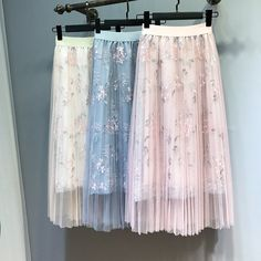 CLICK & BUY :) SHOP  New beautiful pleated mesh floral embroidery long pink skirt beige blue delicate