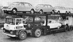 Guy transporter with mixed bag of British Leyland vehicles, including two l Land crabs, 2 a Mini, a Jaguar S Type and an EA Van Old Vintage Cars, Vintage Trucks, Cool Trucks, Big Trucks, Classic Trucks, Classic Cars, Car Movers, Old Lorries, Truck Transport