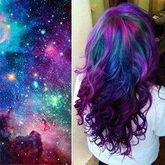 Hair Is Here And It's Going To Blow Your Mind Apparently rainbow hair has been replaced by galaxy hair - and i dig it!Apparently rainbow hair has been replaced by galaxy hair - and i dig it! Hairstyle Trends, Hair Trends, Purple Hair, Ombre Hair, Pink Purple, Galaxy Hair Color, Unicorn Hair, Mermaid Hair, Mermaid Makeup