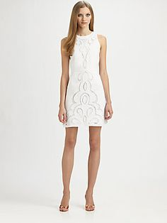 Laundry by Shelli Segal Lace Linen Dress in Optic White