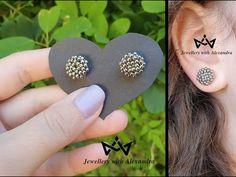 The Maria earrings ❤ How to make round beaded silver stud earrings | Diy handmade jewellery tutorial - YouTube Handmade Jewelry Tutorials, Handmade Wire Jewelry, Diy Earrings Studs, Beaded Earrings, Beaded Jewelry Patterns, Fabric Jewelry, Earring Tutorial, Bead Jewellery, Beads And Wire