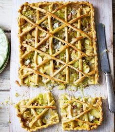 leek, potato, and gorgonzola tart - could probably make with my gf flour