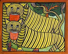 Two Tigers by Montu Chitrakar - West Bengal, India, late 20th cent.