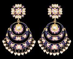 Sunita Shekhawat Chand Balas earrings with pink and blue enamel. Sunitas very refined enamelwork sets her apart.