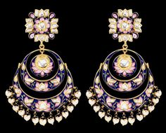 Sunita Shekhawat Chand Balas earrings with pink and blue enamel. Sunitas very refined enamelwork sets her apart.