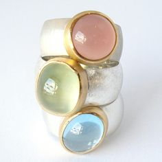 silver, 22 kt gold, light blue topaz, prehnite and pink chalcedony