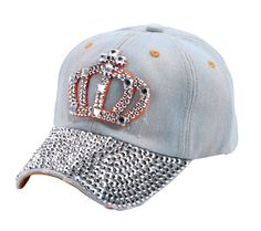 ab302ff856e Crown Rhinestone Jeans Denim Baseball Adjustable Bling Hat Havaianas