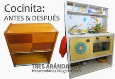 Cocinita para jugar hecha con una mesita de noche #toykitchen #recycle #kitchenfromanightstand