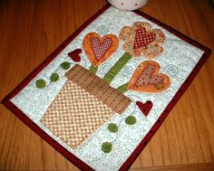 Mug Rug Quilt Patterns | Heart Bouquet Mug Rug by The Patchsmith | Quilting Pattern
