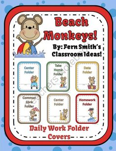 Back to School Beach Monkey Themed Daily Work Folder Covers for Elementary Teachers Student Binder Covers, Student Binders, Student Work, Classroom Themes, Classroom Organization, Classroom Management, School Themes, Future Classroom, School Ideas