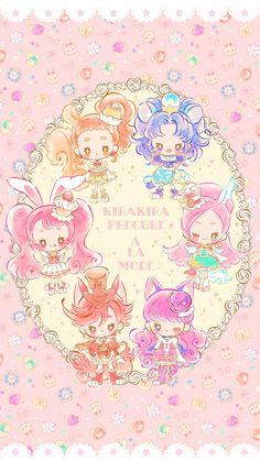 Chibi Kira Kira Precure a la Mode Vs Pink Wallpaper, Sanrio Wallpaper, Kawaii Wallpaper, Pattern Wallpaper, Aztec Wallpaper, Screen Wallpaper, Anime Chibi, Kawaii Anime, Anime Art