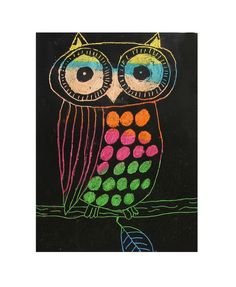 SCRATCH ART OWLS- GRADE 6 Have students use crayons on paper to create a design (color in full page).  Cover with mixture of black tempura paint and soap. Let dry... scratch away. (two tablespoons of paint with a good sized drop (1/4 to a scant 1/2 tsp) of regular dish detergent)