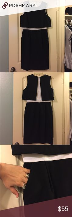 Black and White Two Piece Illusion Dress Calvin Klein illusion two piece dress. Super cute and it has pockets! Wore once for an award ceremony! Calvin Klein Dresses Midi