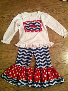 Ole Miss Double Ruffle Outfit by KrazyHeartStudios on Etsy, $48.00