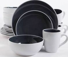 grey plate set & Gibson Home 16-Piece Luna Red Dinnerware Set - Walmart.com | Home ...