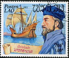 Postes Laos. Magellan. Timbre postal. 1983