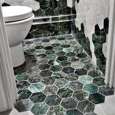 U Hexagon Large Green Marble Polished 100x100 mm