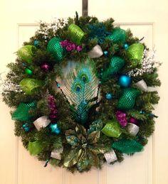 Peacock  Christmas wreath! All Things Christmas, Winter Christmas, Christmas Holidays, Christmas Ideas, Christmas Wreaths, Xmas, Holiday Crafts, Holiday Fun, Festive