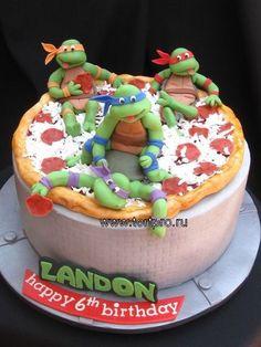 Ninja Turtles - 10 buttercream with brick impression pizza and turtles fondant Ninja Turtle Birthday Cake, Ninja Cake, Tmnt Cake, Turtle Birthday Parties, Ninja Turtle Party, Ninja Turtles, Lego Cake, Ninja Turtle Cakes, 5th Birthday