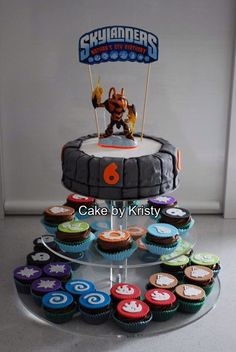 Skylanders Cake and cupcakes for my son's Skylanders party