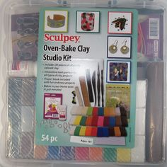 Sculpey Oven-Bake Clay Studio Kit Clay Tools Glaze Mat Flower Mold Carrying Case  | eBay