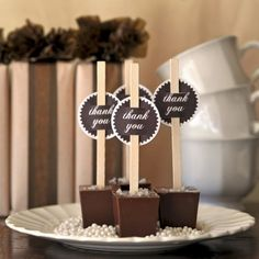 """Hot Chocolate sticks are the latest #wedding beverage craze! Add a printable """"Thank You"""" tag to create a cute after-dinner treat! We love these!"""