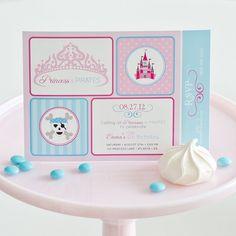 Princess And Pirates Invitation Castle Tiara Skull Crossbones Birthday