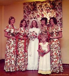 No one could figure out where the bride had gotten her unique motif for the bridesmaid dresses.