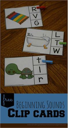 FREE Beginning Sound Clip Cards are such a fun way for prek, kindergarten, and first grade kids to practice identify letter sounds at the beginning of words - a great skill for reading, phonics.