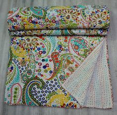 Bedspread Cotton Blanket Vintage Quilt Throw Ralli Gudari Handmade Kantha Quilt Meticulous Dyeing Processes Home, Furniture & Diy