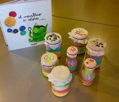 IDEA: llenar frascos con sal de colores simbolizando cada emoción. Imagen extraída del Taller en Biblioteca de Bon Pastor