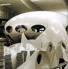 Photo courtesy the authors  The Futuro being assembled at the Polykem Plant in 1968